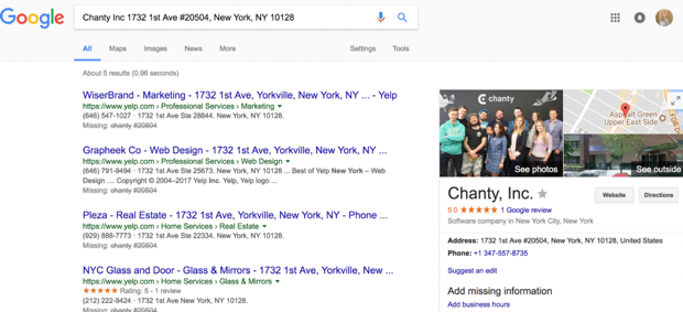 Chanty Google business listing