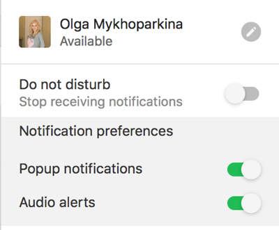 notification settings in Flock