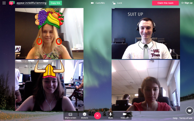 Augmented reality during a video call in Flock