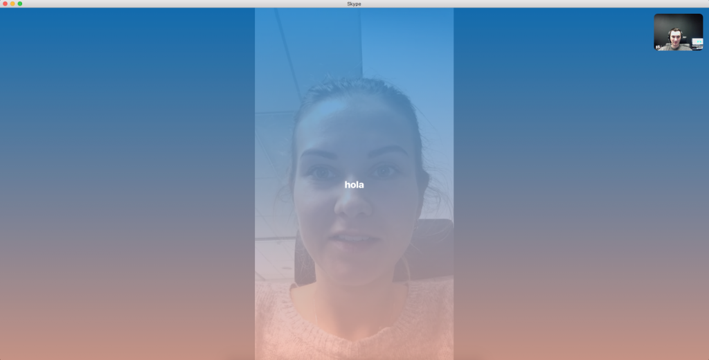 Skype video call text