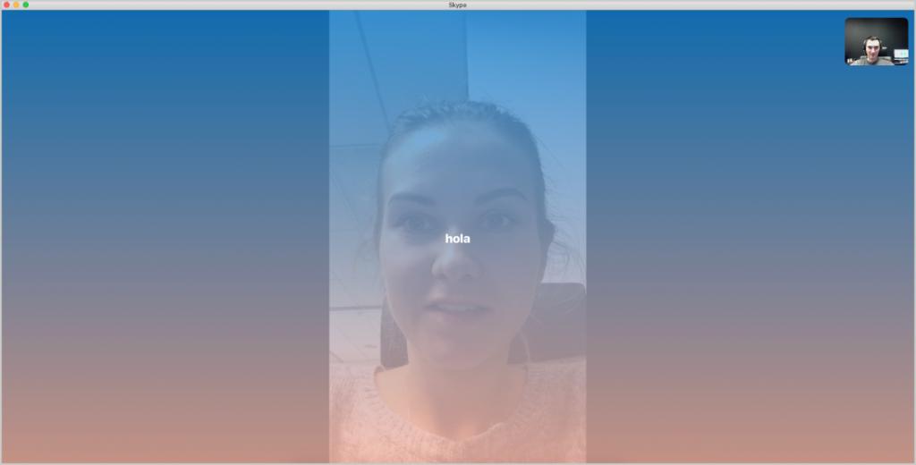 Skype video call text