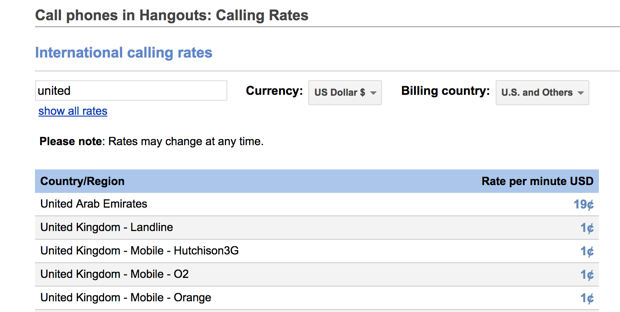 Google Hangouts landline/mobile calls prices