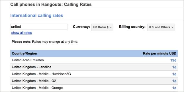 Google Hangouts landline/mobile calls prices