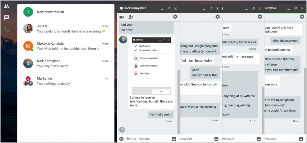 Google Hangouts interface