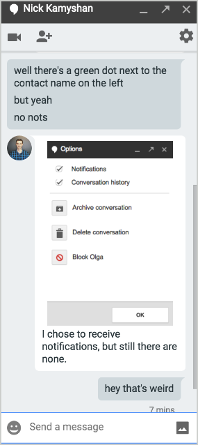Hangouts notifications feedback from Chanty team