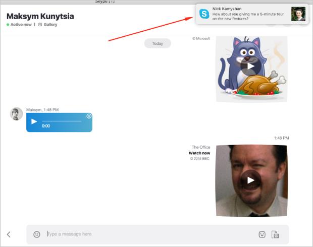 Skype push notifications