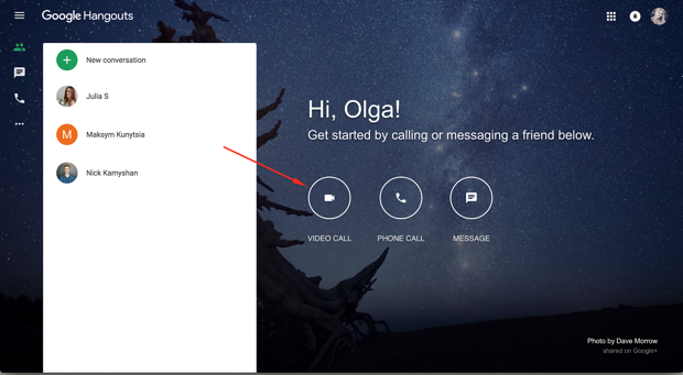 Video call button in Hangouts