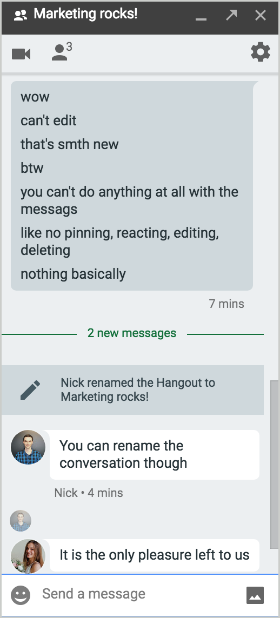Chanty team discussing message options in Hangouts