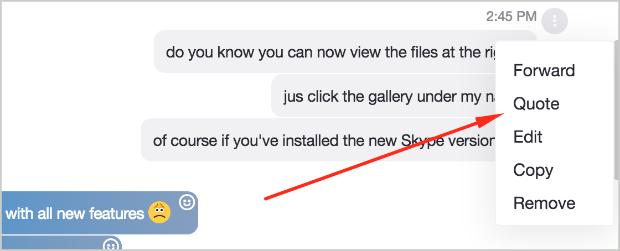 Skype message options