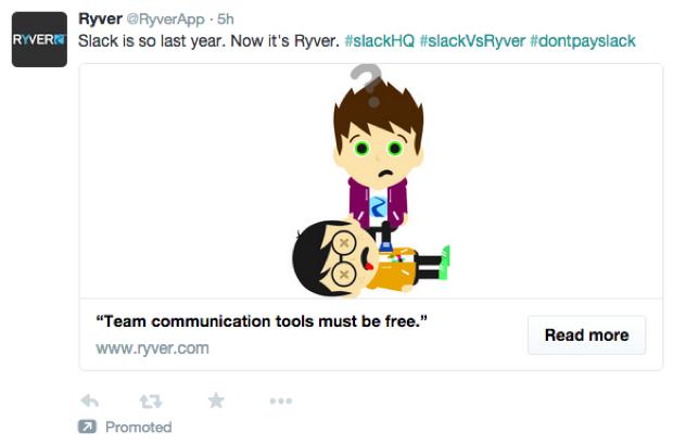 Ryver's Twitter ad