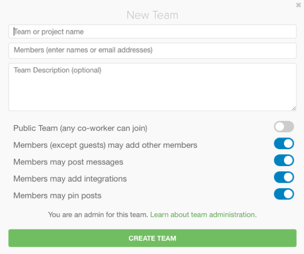 'Create a new team' option in Glip
