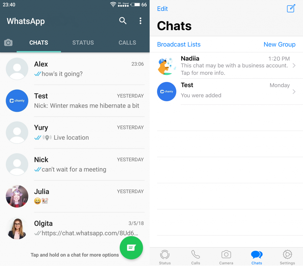 WhatsApp Messenger mobile app interface (Android and iOS)