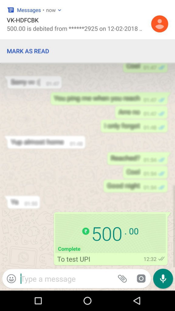WhatsApp payment system