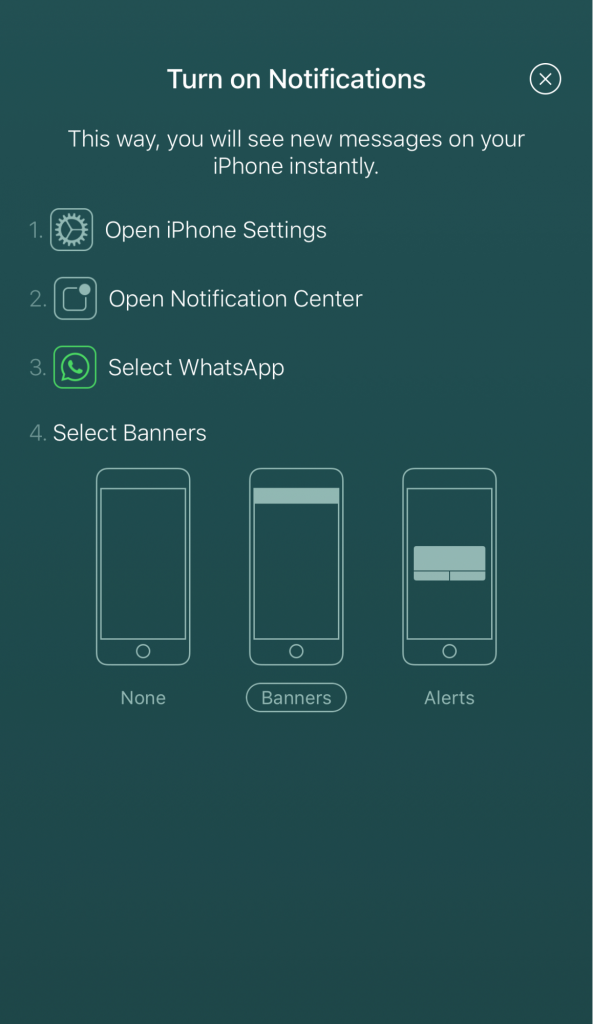 Popup notification settings in WhatsApp for iOS