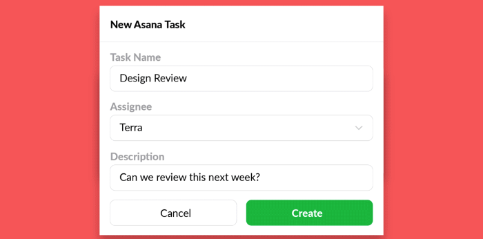 Creating an Asana task with a Slack message