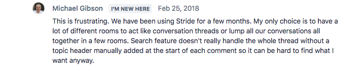 Stride user complaining over not having Threads in Slack