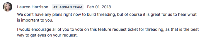 Atlassian team member claims Stride doesn't have plans to feature threading