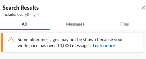 Slack message history limit