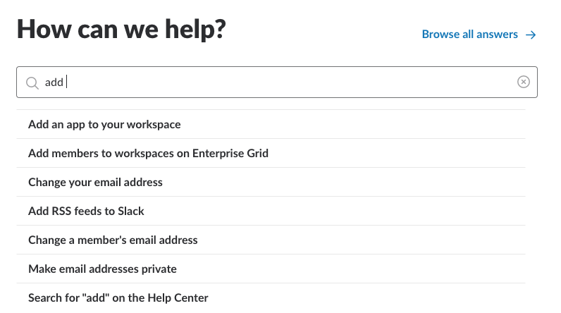 Slack's drop-down list box in the 'Help' section