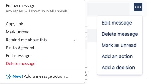 Actions with messages in Slack and Stride
