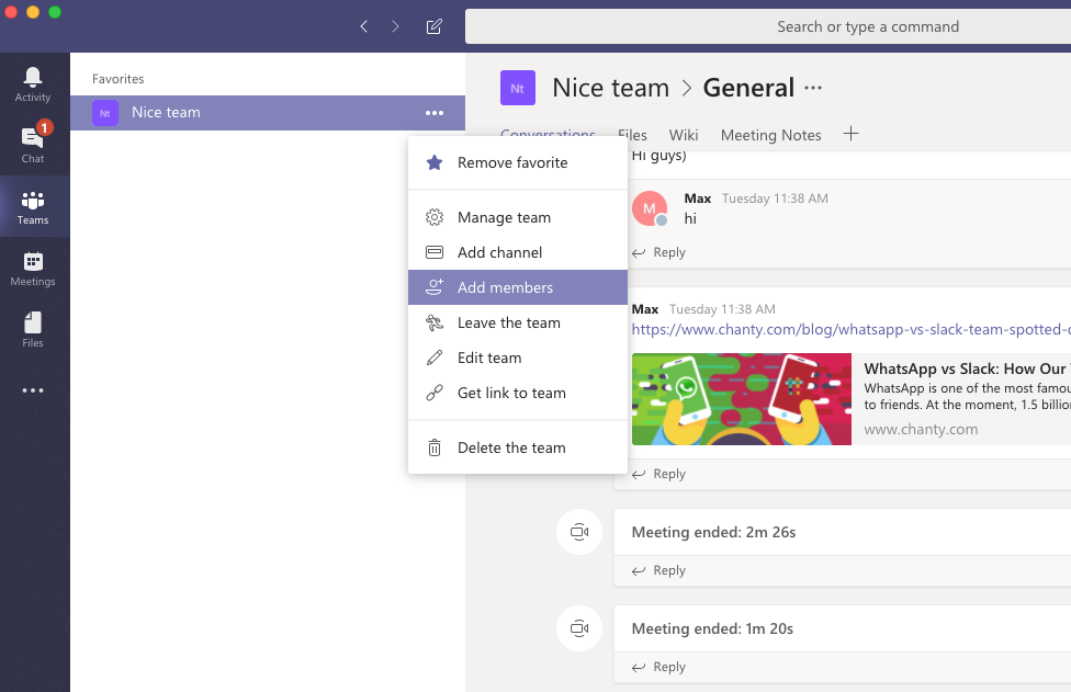 Adding members to a team in Microsoft Teams app