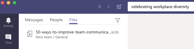 Microsoft Teams searches the content within files