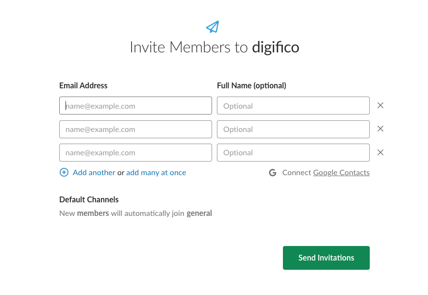 Modal box for inviting new members in Slack