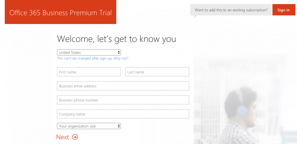 Office 365 Business Premium registration