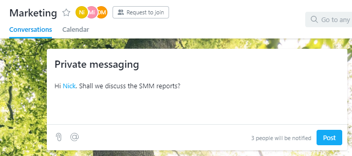 Exchanging private messages in Asana