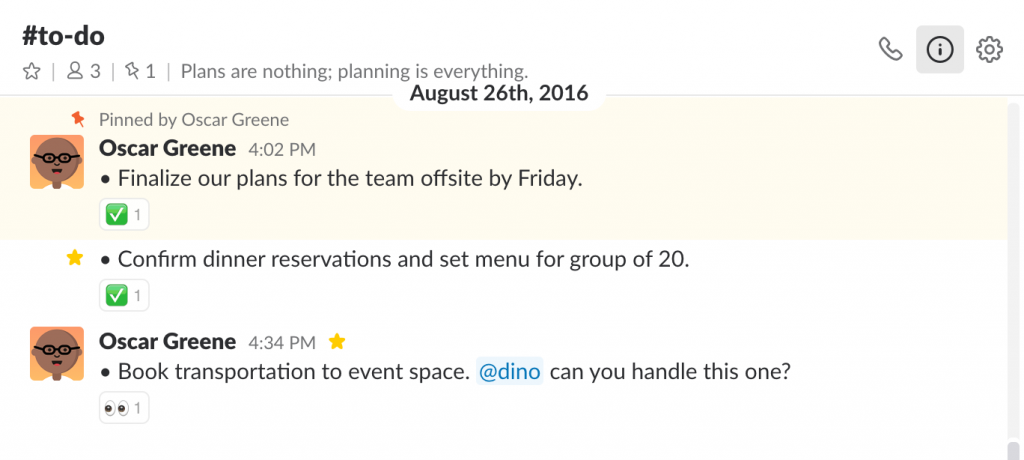 To-do channel in Slack