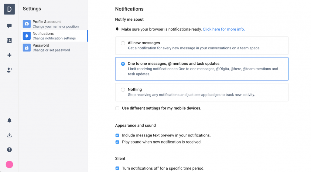 Notification settings in Chanty 0.3.0