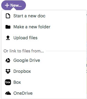 Basecamp's options of linking to files
