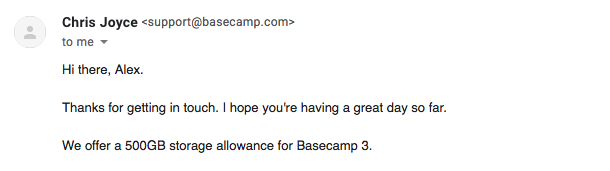 Basecamp support