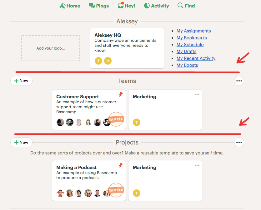 Basecamp's vertical layout