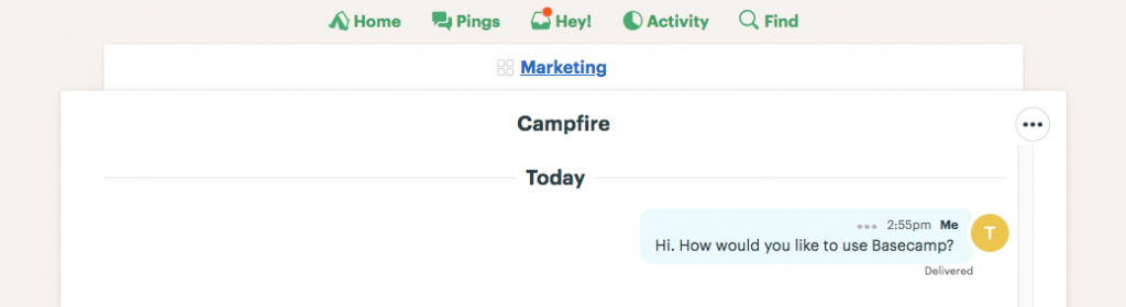 Campfire feature in Basecamp