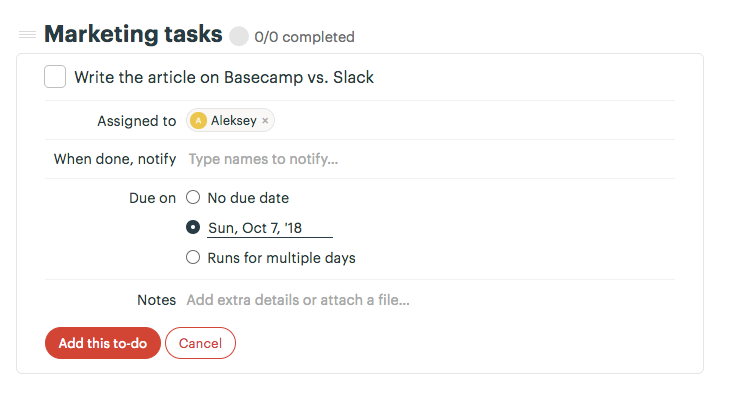 Creating a To-do in Basecamp