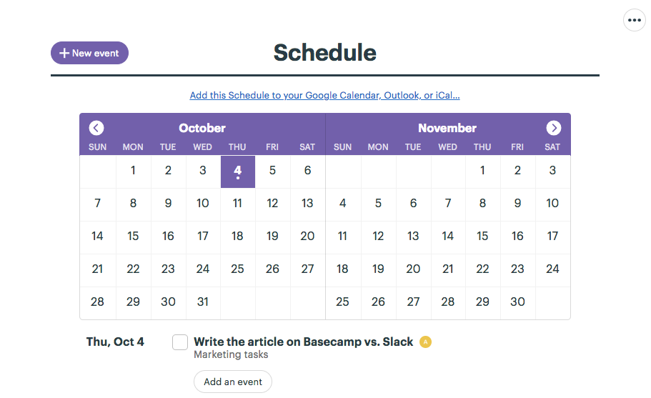 Schedule feature in Basecamp