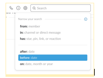 Search options in Slack