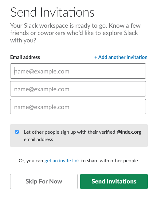 Sending invitations in Slack