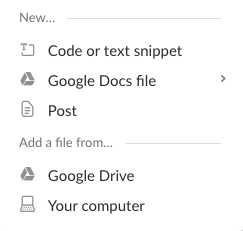 The modal box in Slack that enables file sharing