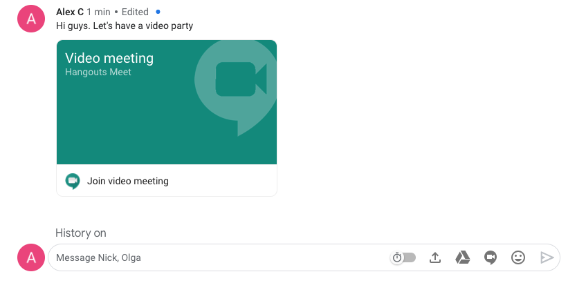 Hangouts Chat video call