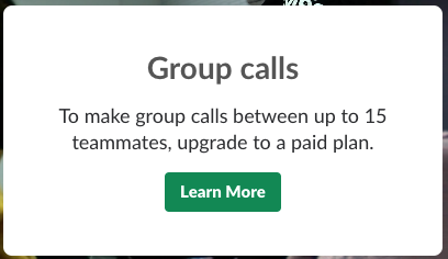 Notification about Group calls limit in Slack