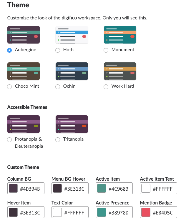 Options for customizing in Slack