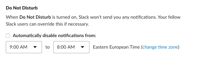 Slack DND notifications