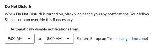 Slack DND notifications