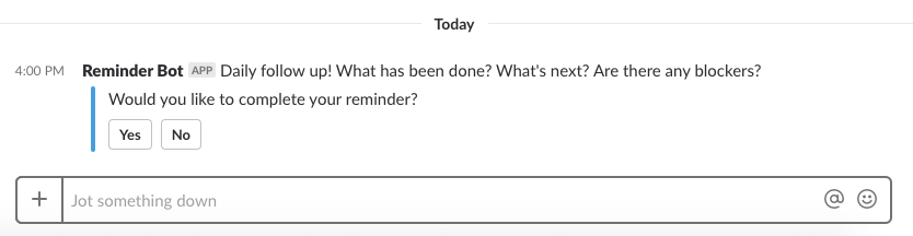 Using Reminder Bot in Slack