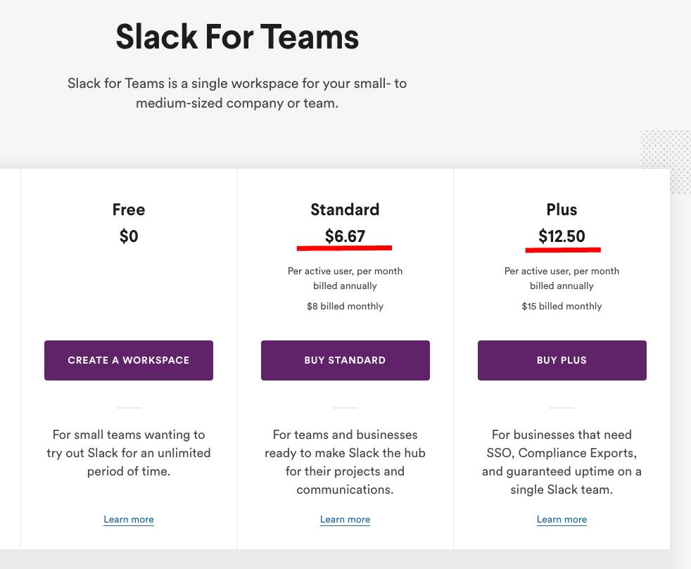 A snippet of Slack's pricing page in March 2019
