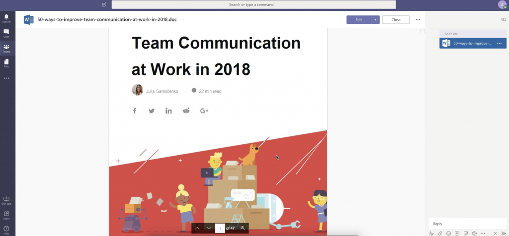 Collaborating on a Word doc within Workplace by Facebook