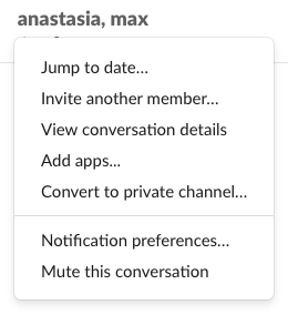 Group conversation settings in Slack