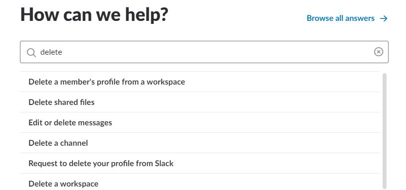 Help Centre in Slack